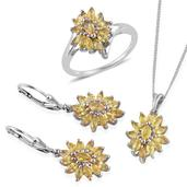 Yellow Sapphire Platinum Over Sterling Silver Lever Back Earrings, Ring (Size 9) and Pendant With Chain (20 in) TGW 5.480 Cts.
