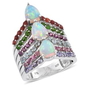 Ethiopian Welo Opal, Multi Gemstone Platinum Over Sterling Silver Ring (Size 8.0) TGW 4.42 cts.