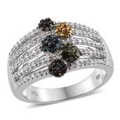 Multi Diamond (IR) Platinum Over Sterling Silver Openwork Ring (Size 6.0) TDiaWt 0.76 cts, TGW 0.76 cts.