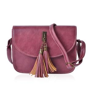 J Francis - Mauve Faux Leather Crossbody Bag with Tassels (8x2x6 in)