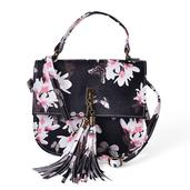 J Francis - Black Floral Print Faux Leather Crossbody Bag (8x2.5x7 in)