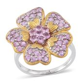 Madagascar Pink Sapphire 14K YG Over and Sterling Silver Floral Ring (Size 6.0) TGW 1.84 cts.