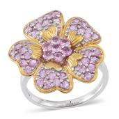 Madagascar Pink Sapphire 14K YG Over and Sterling Silver Floral Ring (Size 9.0) TGW 1.84 cts.