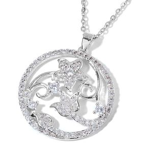 Simulated Diamond Silvertone Floral Pendant With Stainless Steel Chain (20 in) TGW 1.00 cts.