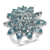 Madagascar Paraiba Apatite Platinum Over Sterling Silver Statement Ring (Size 7.0) TGW 11.81 cts.
