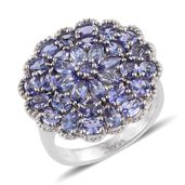 Tanzanite Platinum Over Sterling Silver Cluster Ring (Size 7.0) TGW 4.87 cts.