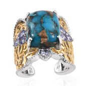 Royal Jaipur Mojave Blue Turquoise, Tanzanite, Ruby 14K YG and Platinum Over Sterling Silver Openwork Open Band Ring (Size 8.0) TGW 12.21 cts.