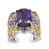 Royal Jaipur Mojave Purple Turquoise, Tanzanite, Ruby 14K YG and Platinum Over Sterling Silver Ring (Size 6.0) TGW 11.940 cts.