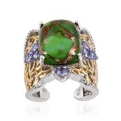 Royal Jaipur Mojave Green Turquoise, Tanzanite, Ruby 14K YG and Platinum Over Sterling Silver Openwork Open Band Ring (Size 6.0) TGW 11.70 cts.