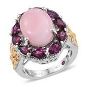 Royal Jaipur Peruvian Pink Opal, Orissa Rhodolite Garnet, Ruby 14K YG and Platinum Over Sterling Silver Openwork Ring (Size 7.0) TGW 7.420 cts.