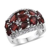 Mozambique Garnet, White Topaz Platinum Over Sterling Silver Cluster Ring (Size 6.0) TGW 8.33 cts.
