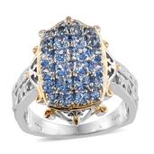 KARIS Collection - Signity Sum Blue Topaz ION Plated 18K YG and Platinum Bond Brass Ring (Size 6.0) TGW 2.220 cts.