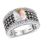Mercury Mystic Topaz, Thai Black Spinel, White Topaz Platinum Over Sterling Silver Ring (Size 7.0) TGW 6.750 cts.