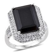 Australian Black Tourmaline, White Topaz Platinum Over Sterling Silver Ring (Size 10.0) TGW 14.61 cts.