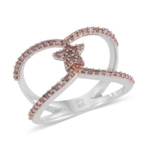 Natural Pink Diamond 14K RG and Platinum Over Sterling Silver Open Band Ring (Size 8.0) TDiaWt 0.53 cts, TGW 0.53 cts.