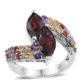 Mozambique Garnet, Multi Gemstone Platinum Over Sterling Silver Bypass Ring (Size 8.0) TGW 6.230 cts.