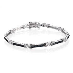 GP Certified Blue Diamond (IR) Platinum Over Sterling Silver Bracelet (7.50 In) TDiaWt 0.75 cts, TGW 0.78 cts.