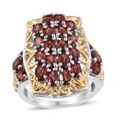 Mozambique Garnet 14K YG and Platinum Over Sterling Silver Ring (Size 6.0) TGW 7.60 cts.
