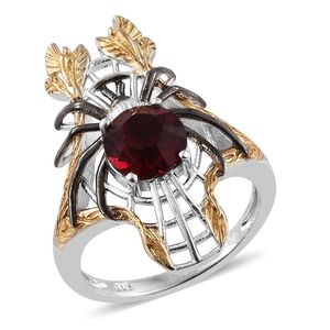 KARIS Collection - ION Plated 18K YG and Platinum Bond Brass Elongated Spider Ring (Size 6.0) Made with SWAROVSKI Red Crystal TGW 1.95 cts.