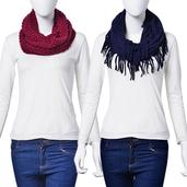 J Francis - Set of 2 Burgundy and Navy Blue 100% Acrylic Infinity Scarves (34x14 In, 30x10 In)