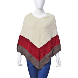 Ivory Tri-Color 100% Acrylic V Pattern V-Shape Knitted Poncho (Free Size)
