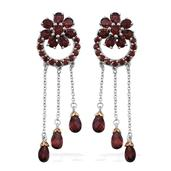 Mozambique Garnet 14K YG and Platinum Over Sterling Silver Drop Earrings TGW 14.56 cts.