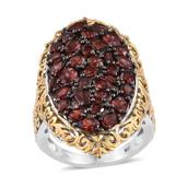 Mozambique Garnet 14K YG and Platinum Over Sterling Silver Cluster Elongated Ring (Size 7.0) TGW 7.45 cts.