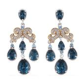 London Blue Topaz, Electric Blue Topaz, White Topaz 14K YG and Platinum Over Sterling Silver Earrings TGW 9.4020 Cts.