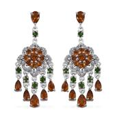 Santa Ana Madeira Citrine, Russian Diopside, White Topaz Platinum Over Sterling Silver Chandelier Earrings TGW 7.160 Cts.