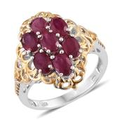 Niassa Ruby 14K YG and Platinum Over Sterling Silver Openwork Ring (Size 7.0) TGW 4.20 cts.
