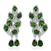 Russian Diopside Platinum Over Sterling Silver Ear Cuff Earrings TGW 5.250 Cts.