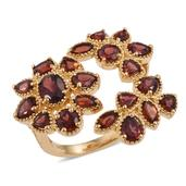 Mozambique Garnet 14K YG Over Sterling Silver Floral Ring (Size 6.0) TGW 7.100 cts.