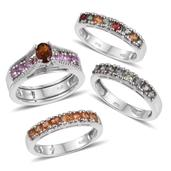 Set of 4 Santa Ana Madeira Citrine, Multi Sapphire Platinum Over Sterling Silver Interchangable Rings (Size 10.0) TGW 5.420 cts.