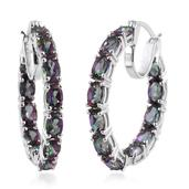 Northern Lights Mystic Topaz Platinum Over Sterling Silver Hoop Earrings TGW 12.130 Cts.