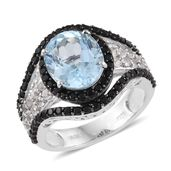 Sky Blue Topaz, White Topaz, Thai Black Spinel Platinum Over Sterling Silver Ring (Size 5.0) TGW 8.02 cts.