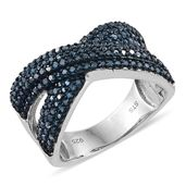 Blue Diamond (IR) Platinum Over Sterling Silver Criss Cross Ring (Size 6.0) TDiaWt 0.96 cts, TGW 0.96 cts.