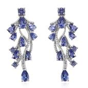 Tanzanite, White Topaz Platinum Over Sterling Silver Drop Earrings TGW 4.744 Cts.