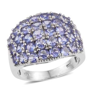 Tanzanite Platinum Over Sterling Silver Cluster Ring (Size 9.0) TGW 5.750 cts.