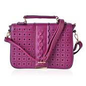 J Francis - Plum Faux Leather Openwork Fold Over Crossbody Bag (10x4x8 in)