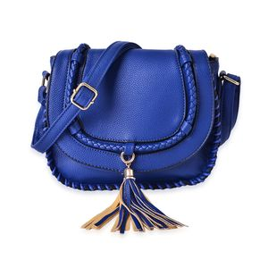 J Francis - Blue Faux Leather Crossbody Bag with Tassel (10.5x3.5x9 in)
