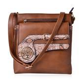 J Francis - Khaki Faux Leather Crossbody Bag (10x2x10.5 in)