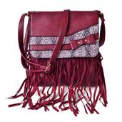 J Francis - Burgundy Faux Leather Crossbody Bag with Fringe (10x11 in)