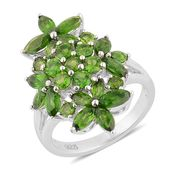 Russian Diopside Sterling Silver Floral Ring (Size 7.0) TGW 3.86 cts.