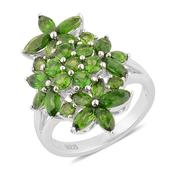 Russian Diopside Sterling Silver Floral Ring (Size 8.0) TGW 3.86 cts.
