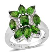 Russian Diopside, White Zircon Sterling Silver Ring (Size 6.0) TGW 3.500 cts.
