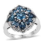 London Blue Topaz, White Topaz Platinum Over Sterling Silver Ring (Size 8.0) TGW 3.960 cts.