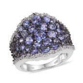 Tanzanite, White Topaz Platinum Over Sterling Silver Cluster Ring (Size 7.0) TGW 5.520 cts.