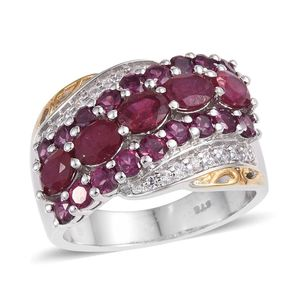 Niassa Ruby, Orissa Rhodolite Garnet, White Zircon 14K YG and Platinum Over Sterling Silver Ring (Size 5.0) TGW 4.47 cts.