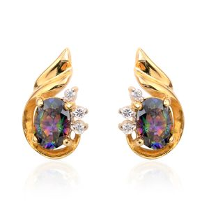 Northern Lights Mystic Topaz, Simulated Diamond 14K YG Over Sterling Silver Stud Earrings TGW 1.74 cts.