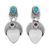 Bali Princess Collection Carved Bone, Arizona Sleeping Beauty Turquoise, Niassa Ruby Sterling Silver Dangle Earrings TGW 14.036 Cts.